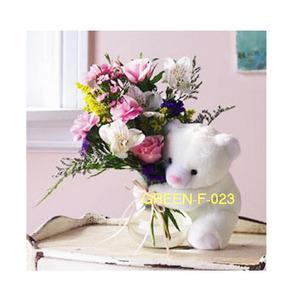 곰인형꽃다발