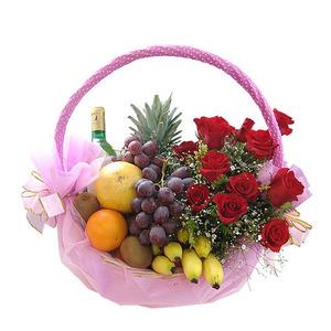 과일꽃바구니+샴페인